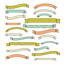 Hand drawn blank ribbon banners.