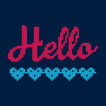 Hello in cross stitched hearts