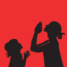 silhouettes of mother and child with praying hands