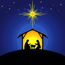 Biblical illustration. Christmas story. Mary and Joseph with the baby Jesus. Nativity scene near the city of Bethlehem.
