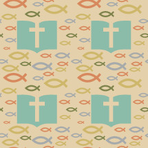 Jesus fish and Bible with cross pattern background