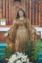 figure of Mother Mary in a church