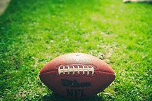 a football in the grass