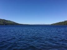 ripples in cobalt blue lake water