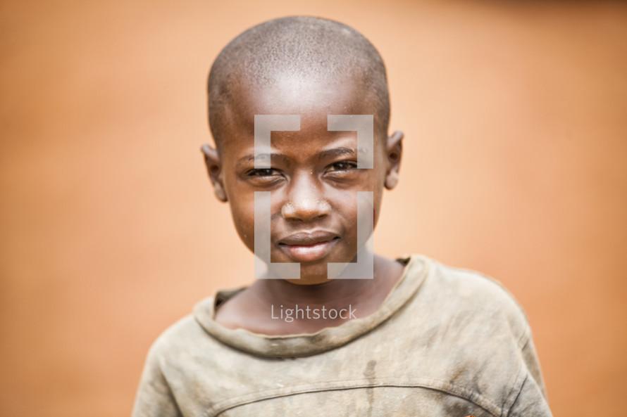 boy looking at the camera