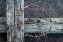 crown of thorns on a wood cross