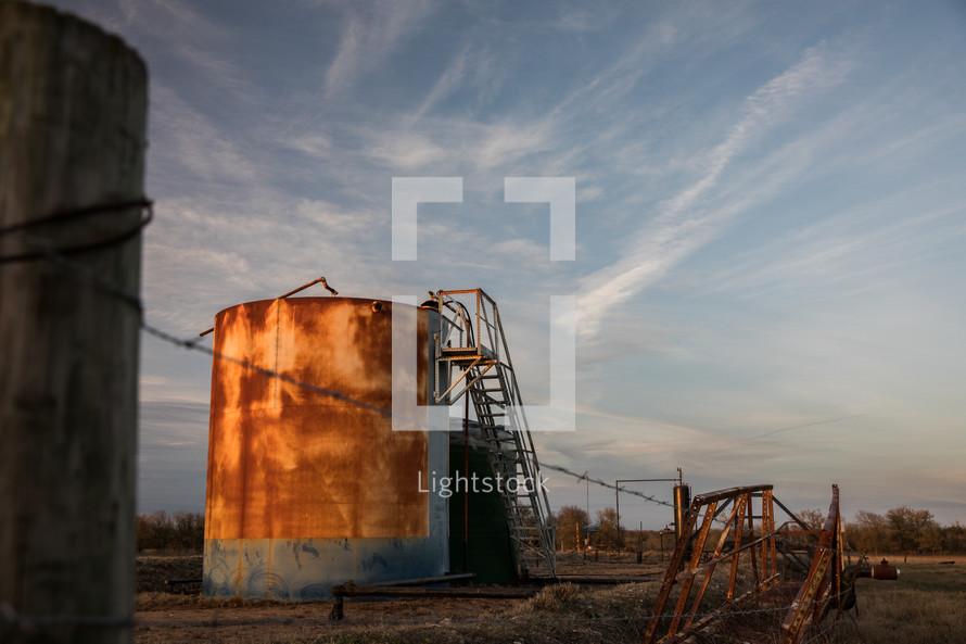 old rusty storage tank