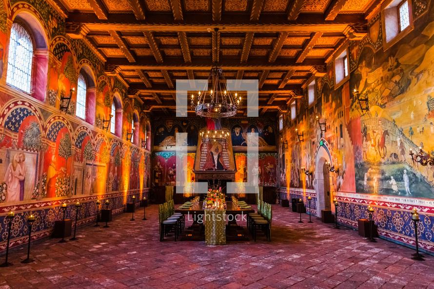 Ornate Roman dining hall.