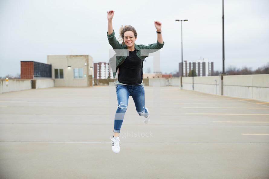 teen girl jumping up