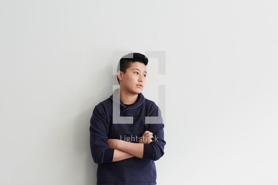 pouting teen boy