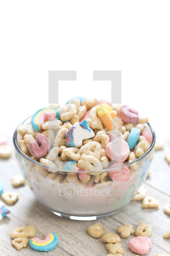 bowl of Lucky Charms cereal
