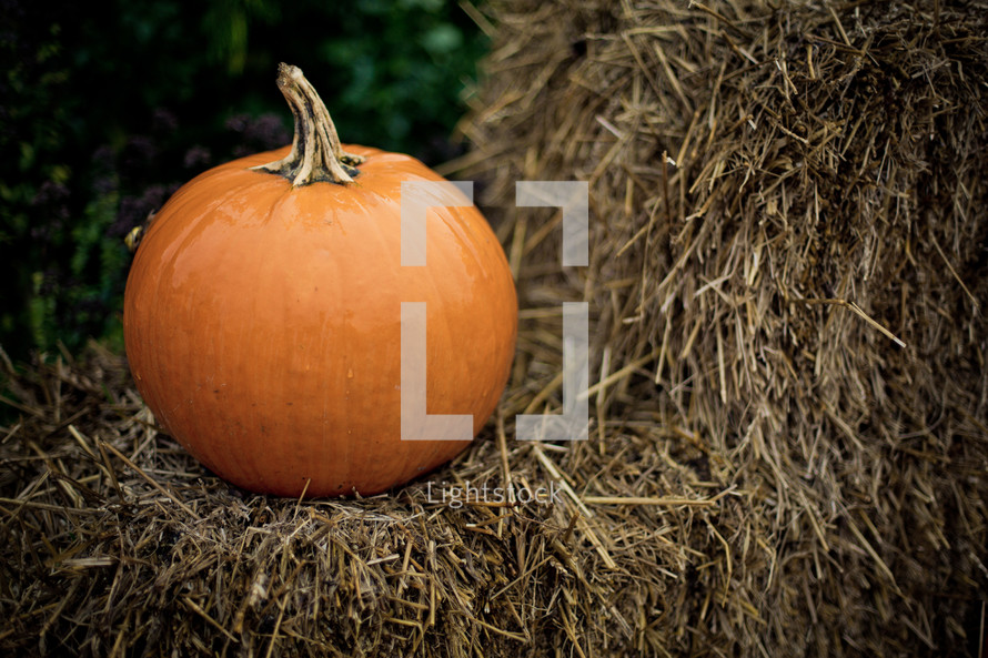 A single orange pumpkin sits on a bale of hay.