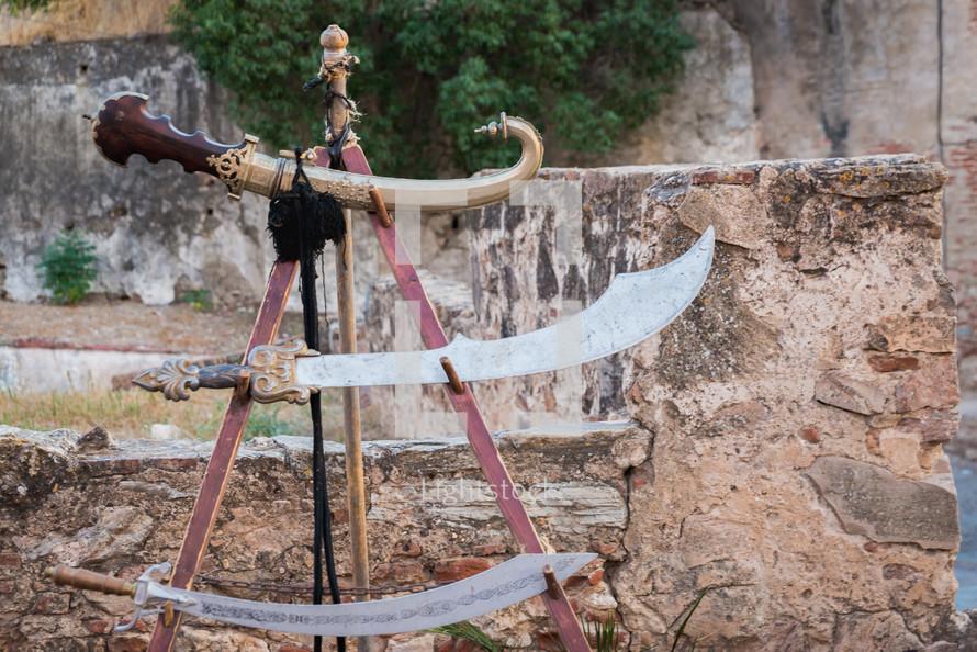 Old arabic swords in Almossassa, Badajoz, Extremadura.