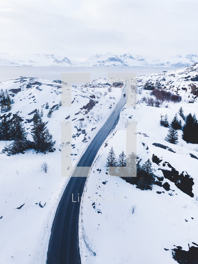 aerial view over a winter landscape