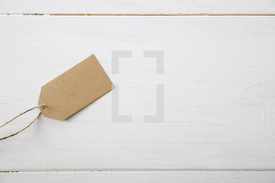 A brown paper gift tag.