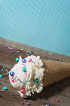 ice cream cone with sprinkles
