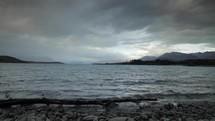 mountain lake shore landscape