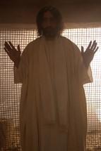 Jesus with hands raised