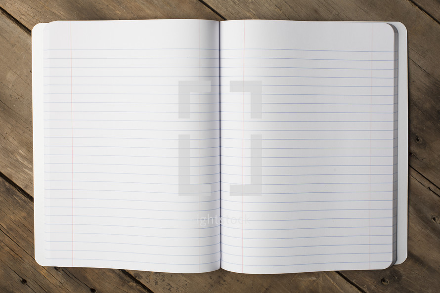 blank pages of a notebook