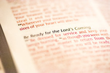 Be Ready for the Lord's coming