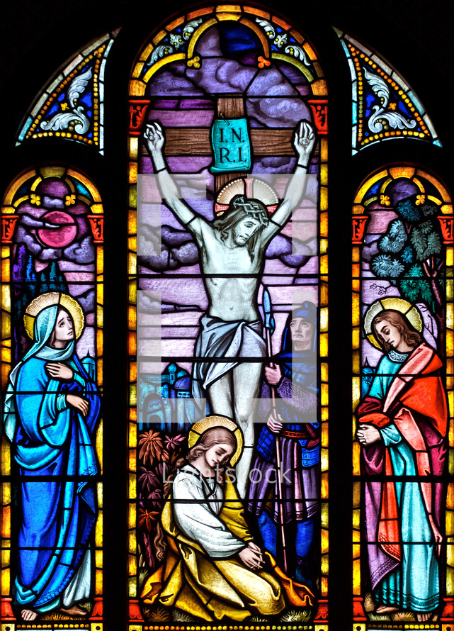 stained glass window of crucifixion
