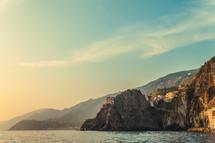 village on sea cliffs