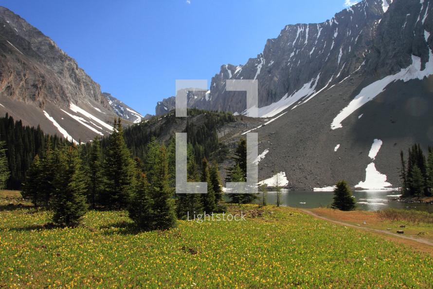 Lake at base of mountain