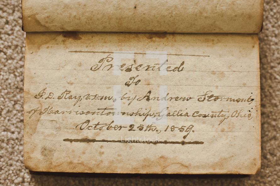 inscribed book