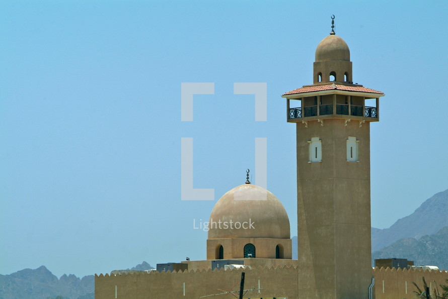 Desert Mosque tower and dome