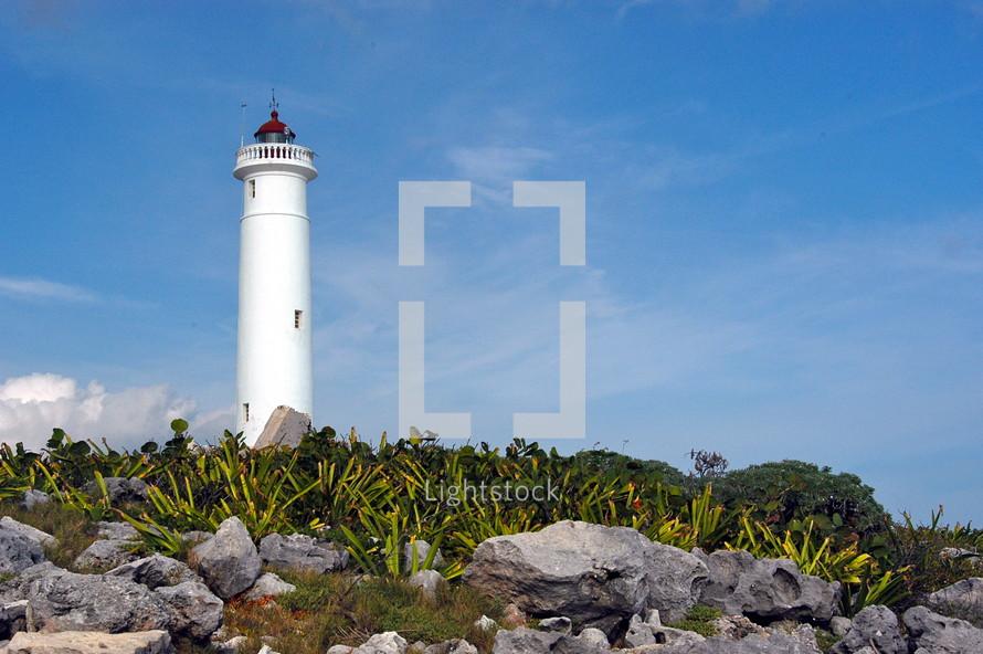 A lighthouse off the coast of the Caribbean