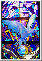 "A multi colored beautiful stained glass window featuring a white Dove over the Earth. A beautiful portrait of a white Dove on a white and blue stained glass window with purple, gold and lavender colors . The dove is often used to display the personality and presence of the Holy Spirit as mentioned in Luke 3:22 when Jesus was baptized. ""And the Holy Spirit descended on him in bodily form like a dove. And a voice came from heaven: ""You are my Son, whom I love; with you I am well pleased."""