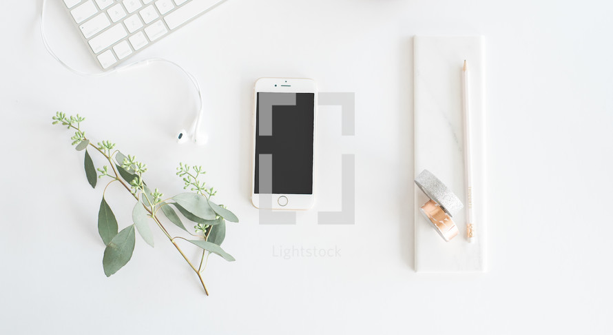 mistletoe, keyboard, white background, earbuds, technology, desk, workspace