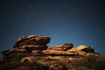 stars in the night sky in the Moab desert