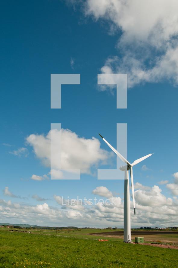 wind turbine - field - cloud - sky