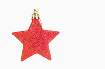 red glitter star ornament