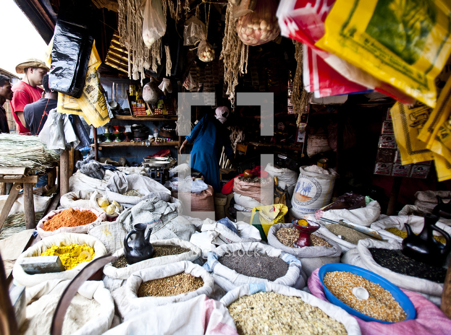 Bags of different seed, spices and herbs at a small market in Ethiopia