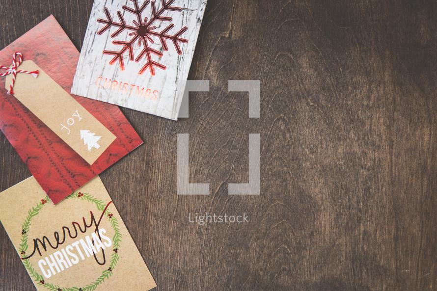 Christmas cards on wood