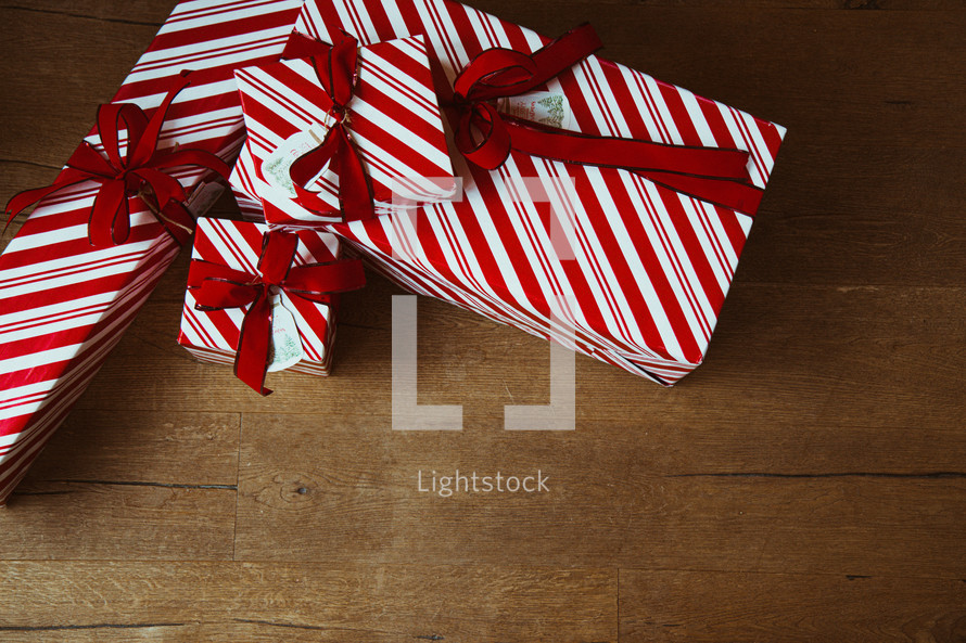 striped gifts for Christmas