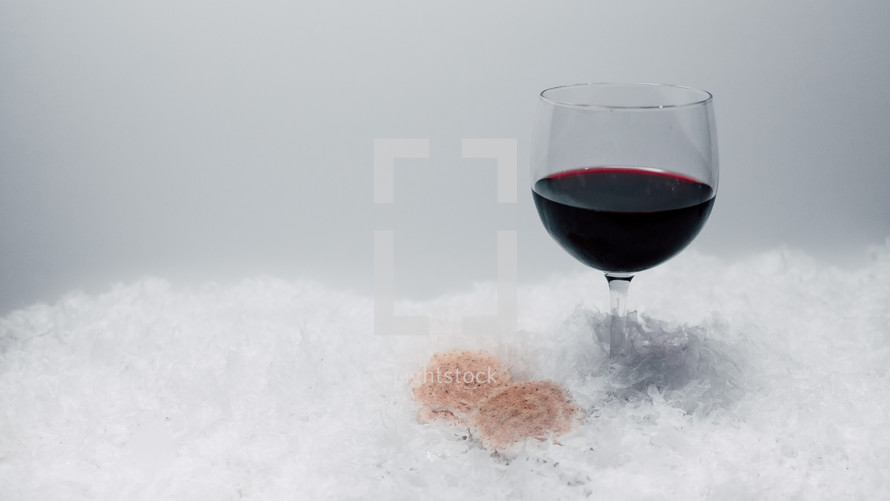 bread and wine in snow