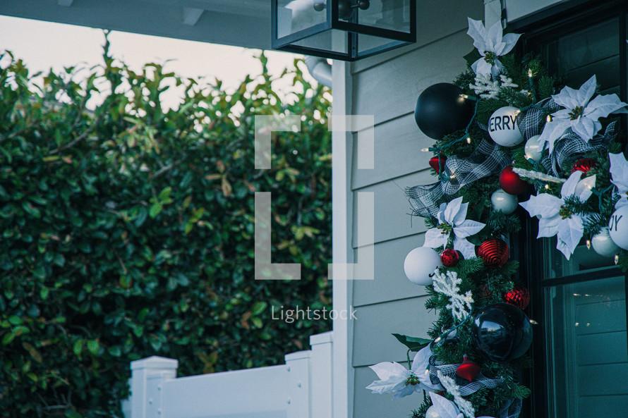 Christmas garland on a window