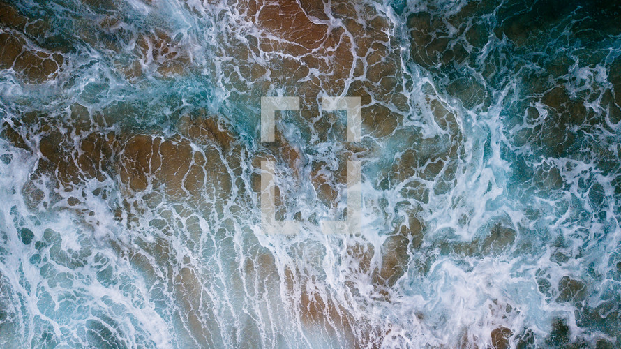 aerial view over ocean water