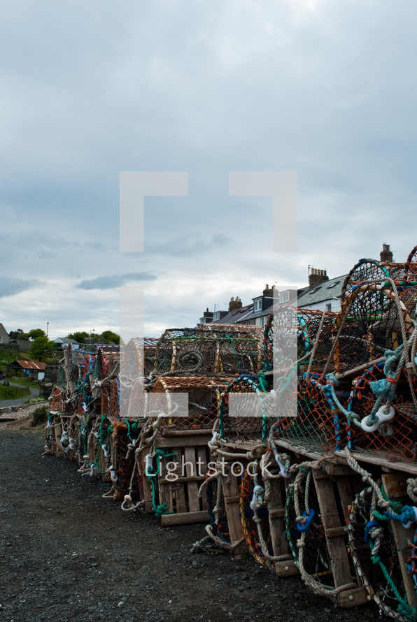 stacks of crab cages