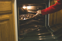 woman baking cookies in the oven