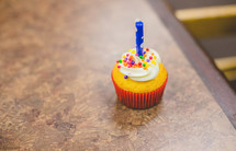 candle on a birthday cupcake