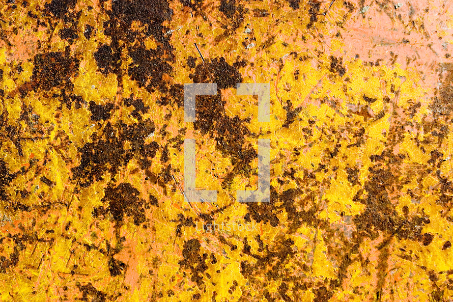 yellow rust on a steel wall