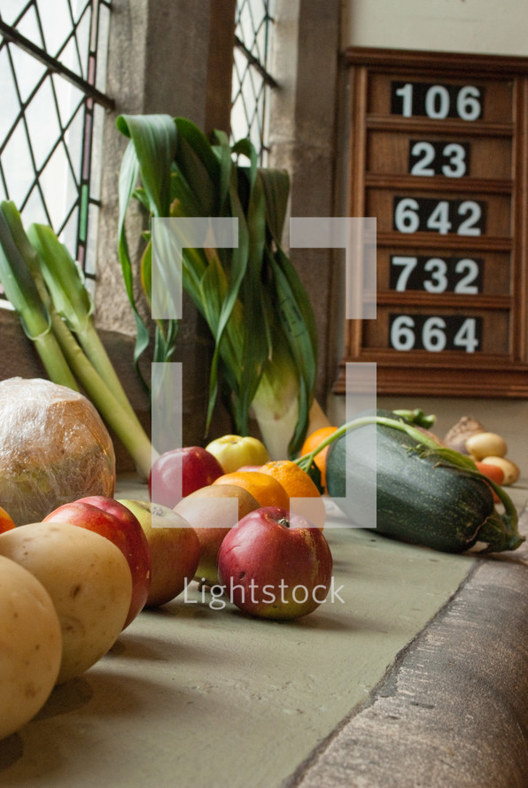 hymnal board and harvest