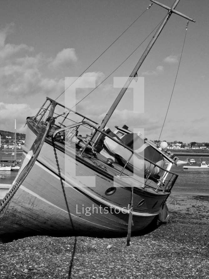 beached yacht
