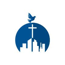 Church building logo with dove — Vector — Lightstock