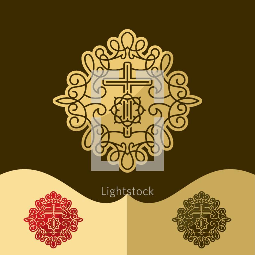 crown of thorns, cross, vines logo