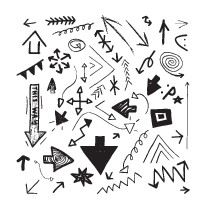 arrows and doodles in black and white